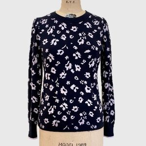 Rebecca Taylor Sweater Navy Lavender Floral